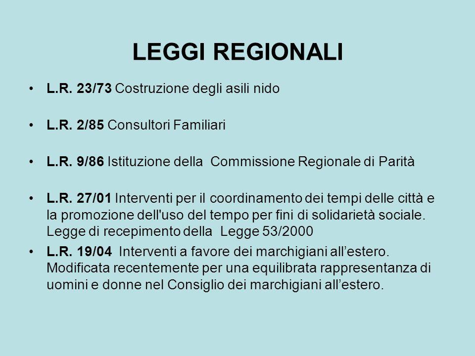 LEGGI REGIONALI L.R. 23/73 Costruzione degli asili nido L.R. 2/85 Consultori Familiari L.R. 9/86 Istituzione della Commissione Regionale di Parità L.R