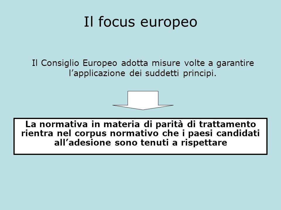 Il focus europeo La normativa in materia di parità di trattamento rientra nel corpus normativo che i paesi candidati alladesione sono tenuti a rispett