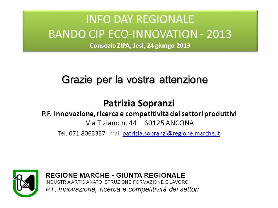 Patrizia Sopranzi P.F. Innovazione, ricerca e competitività dei settori produttivi Via Tiziano n. 44 – 60125 ANCONA Tel. 071 8063337 mail patrizia.sop