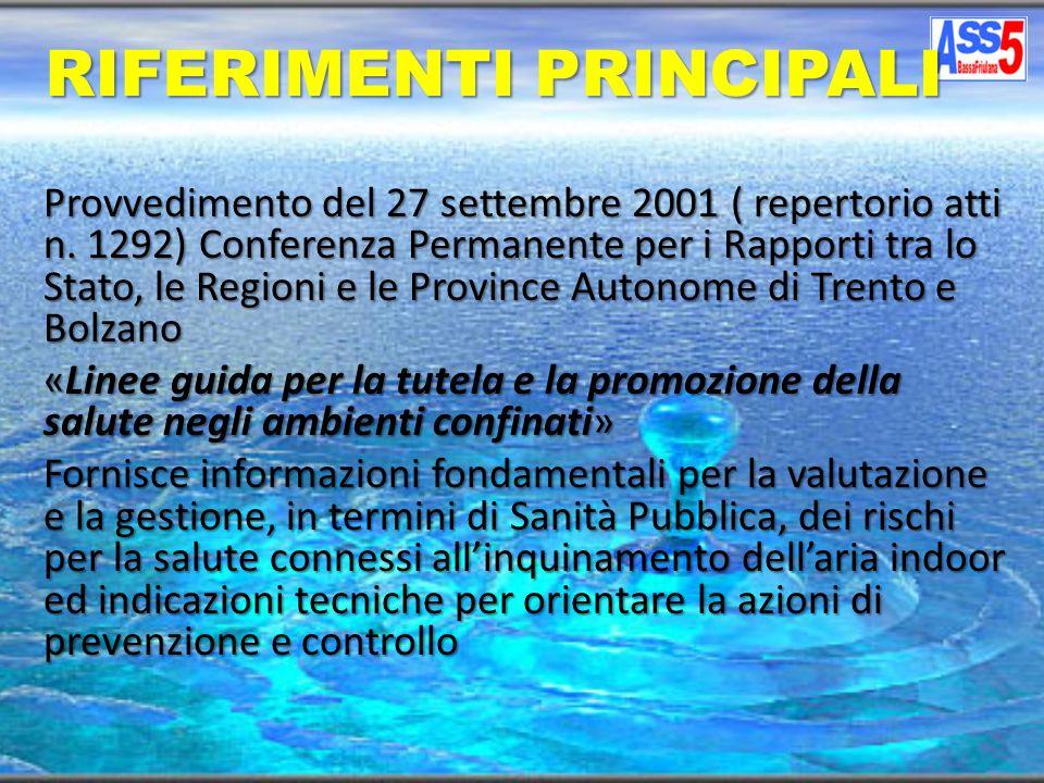 RIFERIMENTI PRINCIPALI Provvedimento del 27 settembre 2001 ( repertorio atti n. 1292) Conferenza Permanente per i Rapporti tra lo Stato, le Regioni e