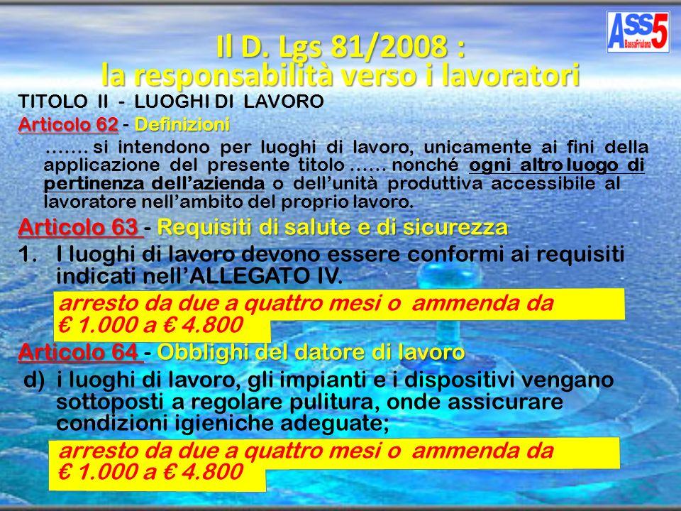 TITOLO II - LUOGHI DI LAVORO Articolo 62Definizioni Articolo 62 - Definizioni ……. si intendono per luoghi di lavoro, unicamente ai fini della applicaz