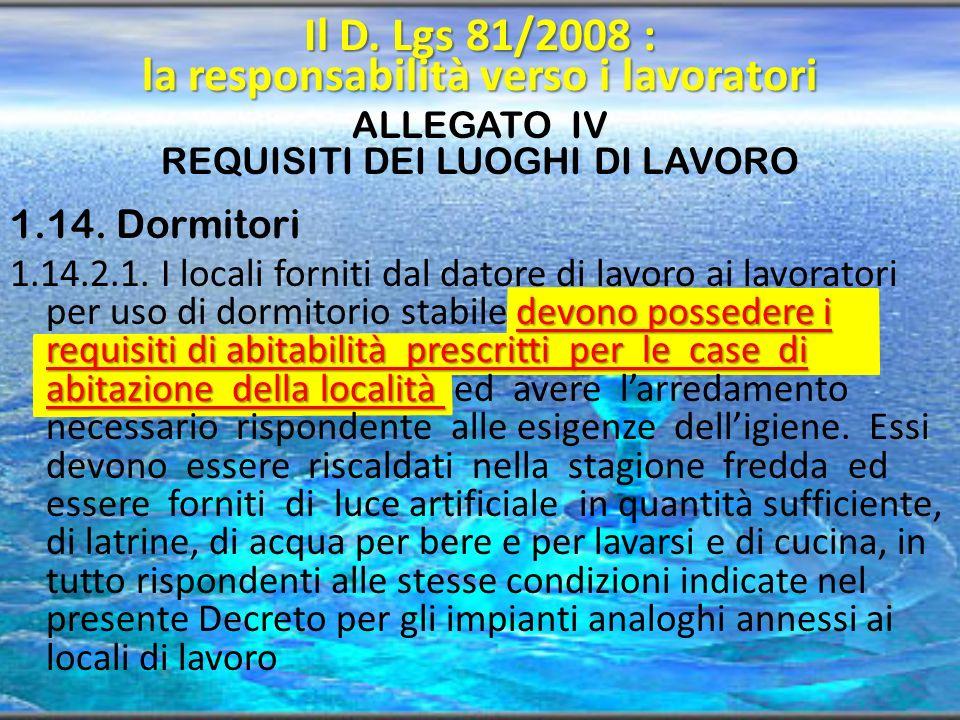 ALLEGATO IV REQUISITI DEI LUOGHI DI LAVORO 1.14. Dormitori devono possedere i requisiti di abitabilità prescritti per le case di abitazione della loca