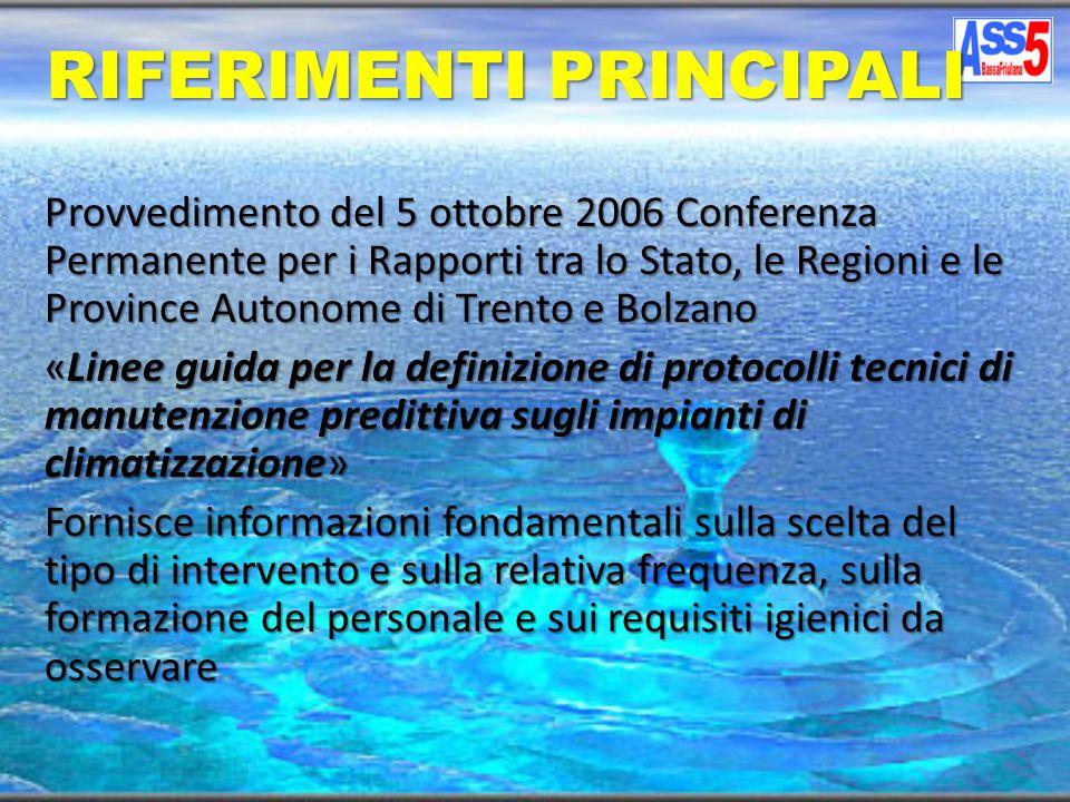 Provvedimento del 04 aprile 2000 la Conferenza Permanente per i Rapporti tra lo Stato, le Regioni e le Province Autonome di Trento e Bolzano ha approvato il seguente documento :Linee guida per la prevenzione e il controllo della legionellosi.