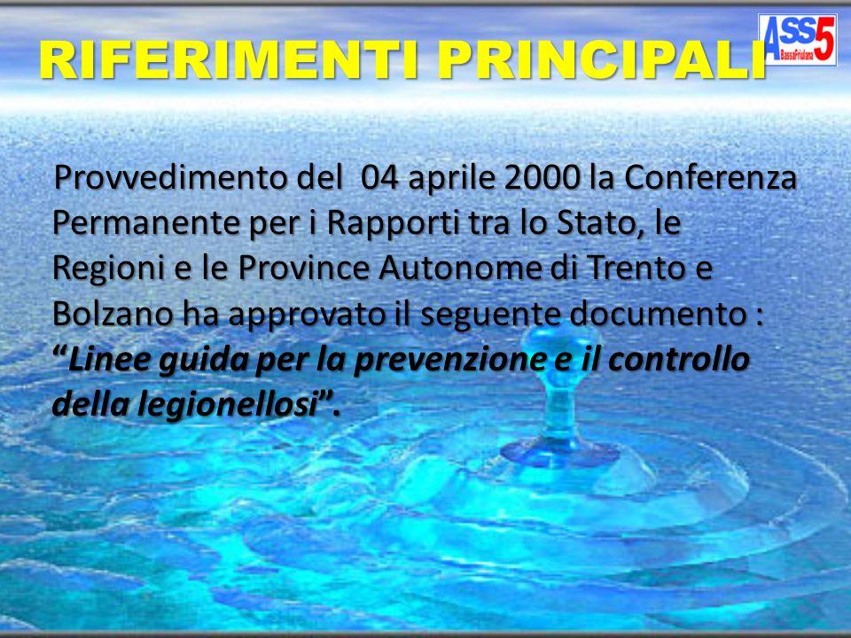 Provvedimento del 04 aprile 2000 la Conferenza Permanente per i Rapporti tra lo Stato, le Regioni e le Province Autonome di Trento e Bolzano ha approv