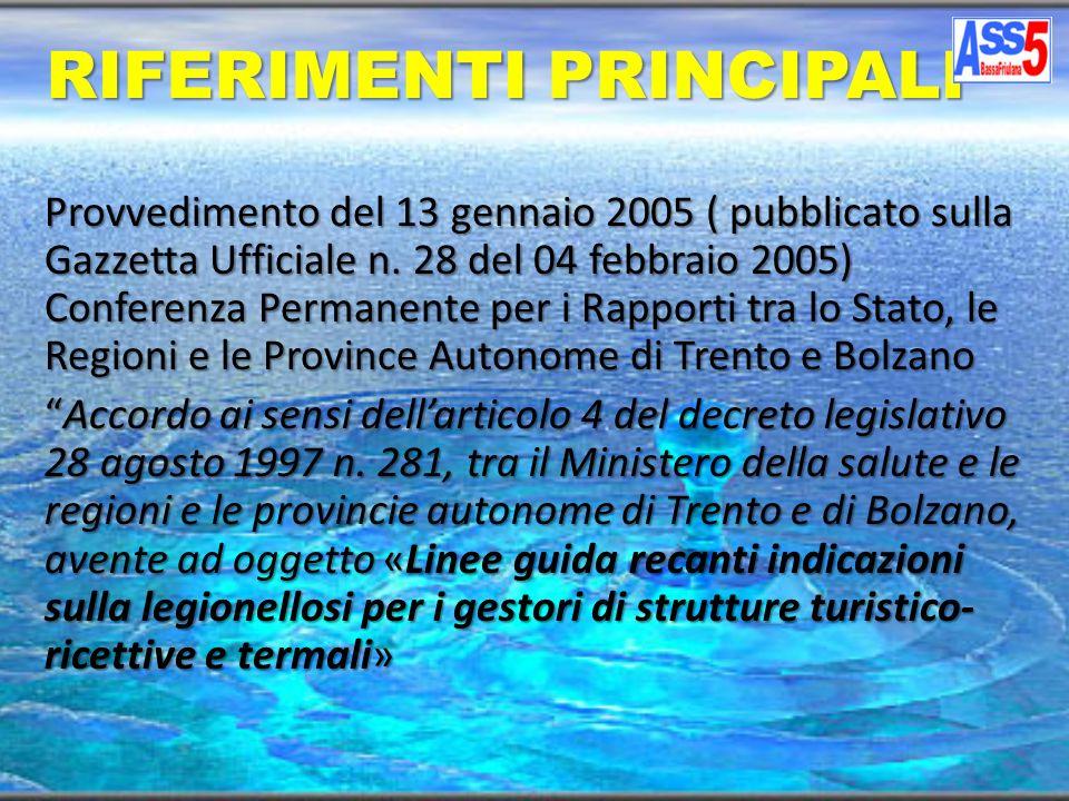 Provvedimento del 13 gennaio 2005 ( pubblicato sulla Gazzetta Ufficiale n. 28 del 04 febbraio 2005) Conferenza Permanente per i Rapporti tra lo Stato,