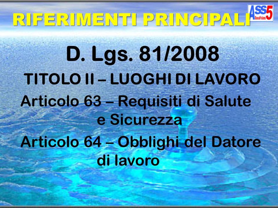 D. Lgs. 81/2008 TITOLO II – LUOGHI DI LAVORO Articolo 63 – Requisiti di Salute e Sicurezza Articolo 64 – Obblighi del Datore di lavoro RIFERIMENTI PRI