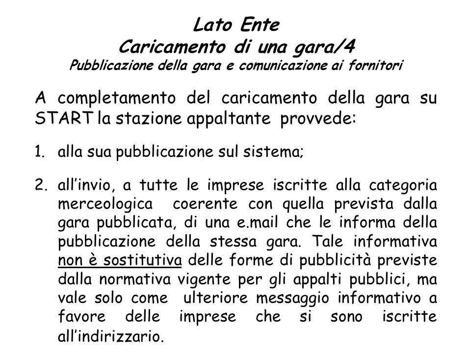 Lato Ente Caricamento di una gara/4 Pubblicazione della gara e comunicazione ai fornitori A completamento del caricamento della gara su START la stazi