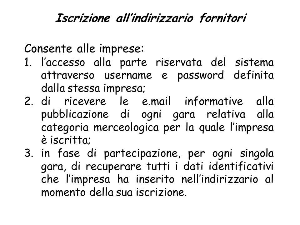 Iscrizione allindirizzario fornitori Consente alle imprese: 1.laccesso alla parte riservata del sistema attraverso username e password definita dalla