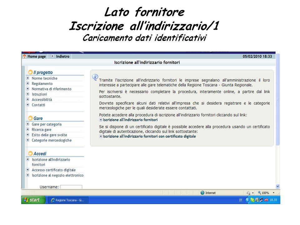 Lato fornitore Iscrizione allindirizzario/1 Caricamento dati identificativi