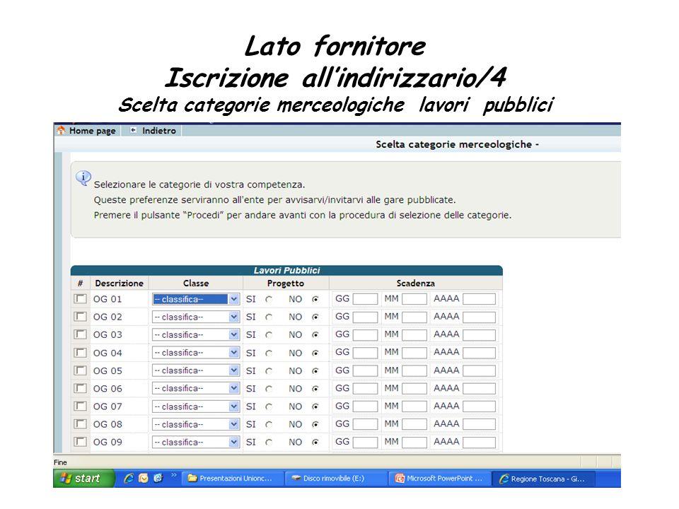 Lato fornitore Iscrizione allindirizzario/4 Scelta categorie merceologiche lavori pubblici
