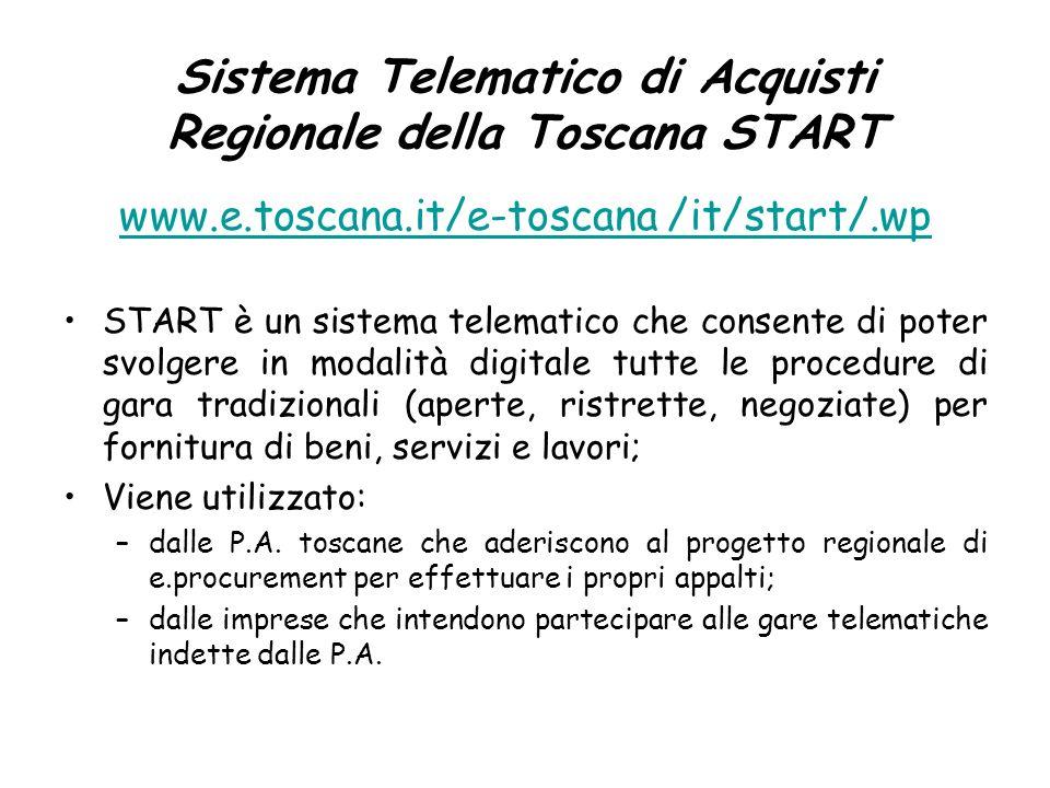 Sistema Telematico di Acquisti Regionale della Toscana START www.e.toscana.it/e-toscana /it/start/.wp START è un sistema telematico che consente di po