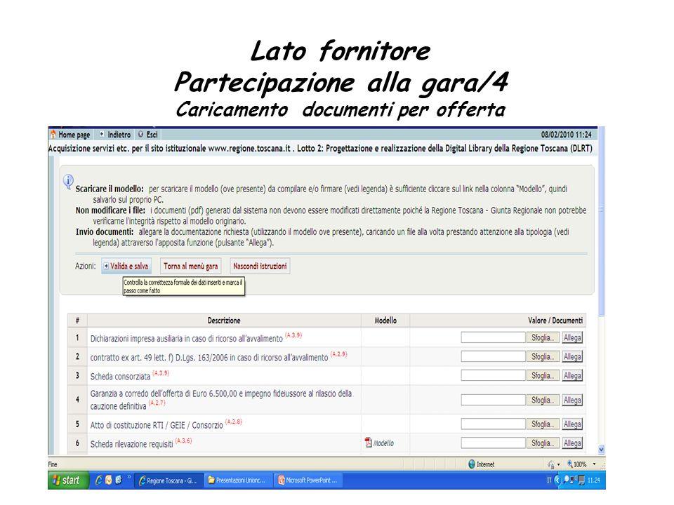 Lato fornitore Partecipazione alla gara/4 Caricamento documenti per offerta
