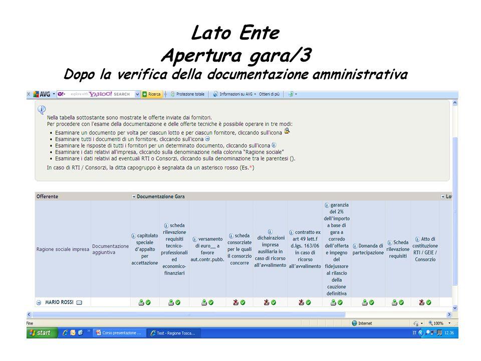 Lato Ente Apertura gara/3 Dopo la verifica della documentazione amministrativa