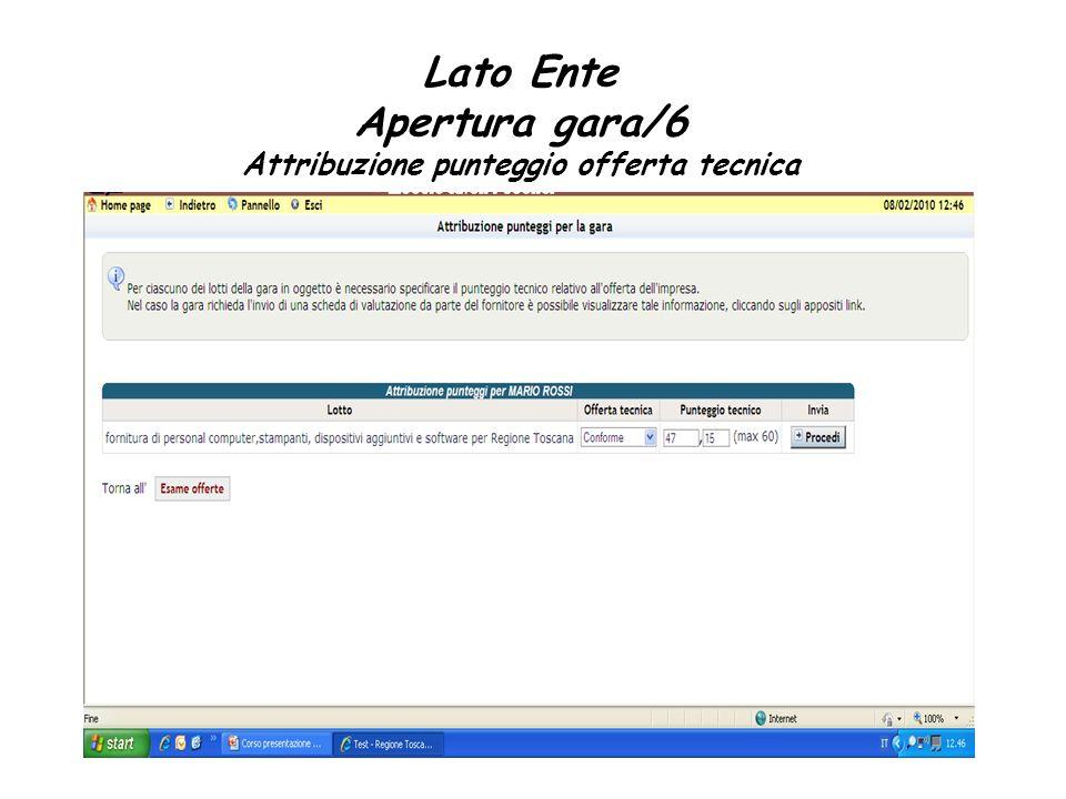 Lato Ente Apertura gara/6 Attribuzione punteggio offerta tecnica