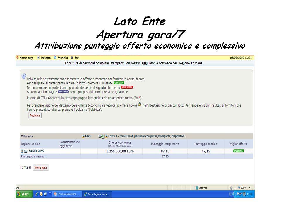 Lato Ente Apertura gara/7 Attribuzione punteggio offerta economica e complessivo