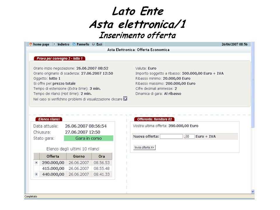 Lato Ente Asta elettronica/1 Inserimento offerta