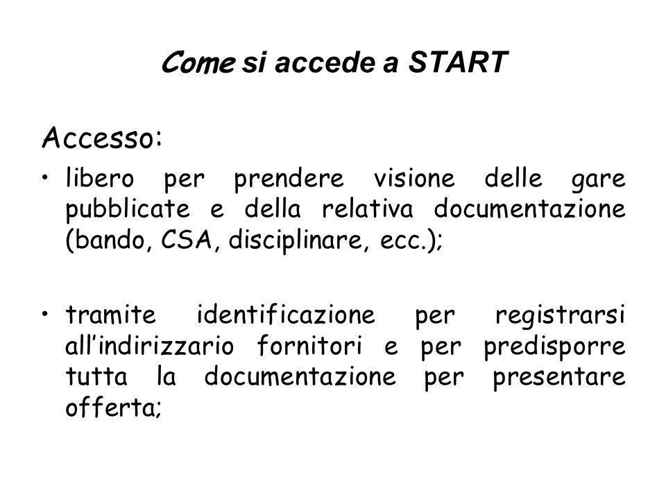 Come si accede a START Accesso: libero per prendere visione delle gare pubblicate e della relativa documentazione (bando, CSA, disciplinare, ecc.); tr