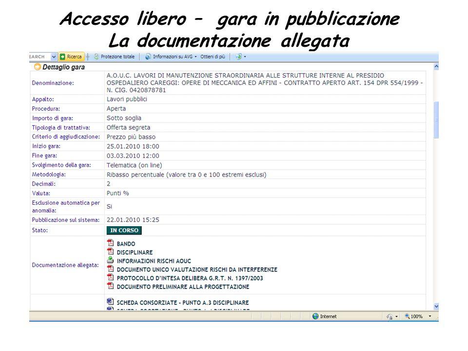Accesso libero – gara in pubblicazione La documentazione allegata