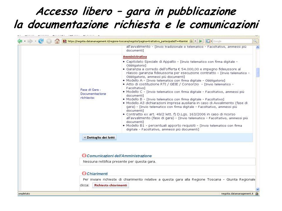 Accesso libero – gara in pubblicazione la documentazione richiesta e le comunicazioni