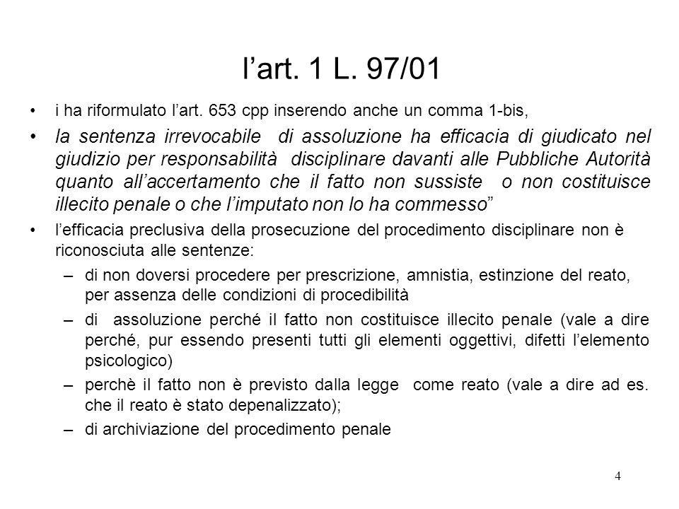 4 lart. 1 L. 97/01 i ha riformulato lart. 653 cpp inserendo anche un comma 1-bis, la sentenza irrevocabile di assoluzione ha efficacia di giudicato ne