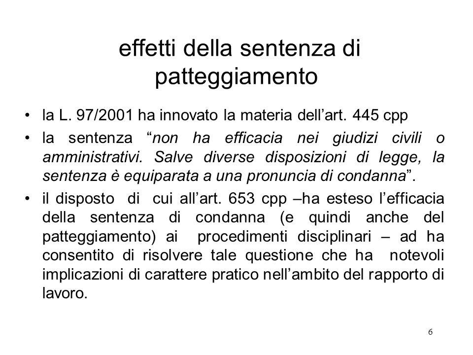 6 effetti della sentenza di patteggiamento la L. 97/2001 ha innovato la materia dellart. 445 cpp la sentenza non ha efficacia nei giudizi civili o amm