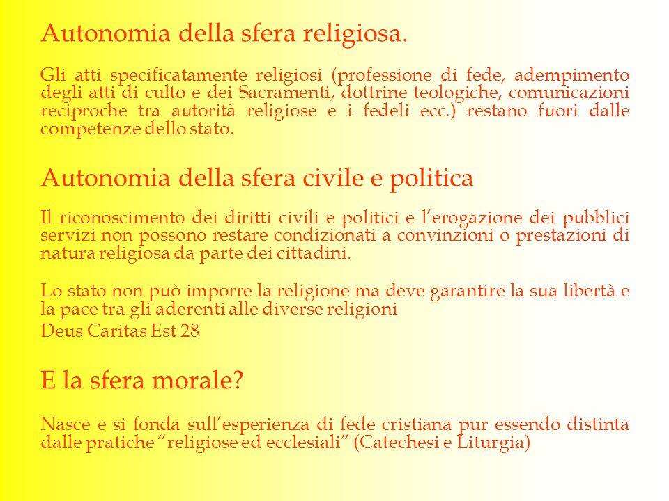 Autonomia della sfera religiosa.