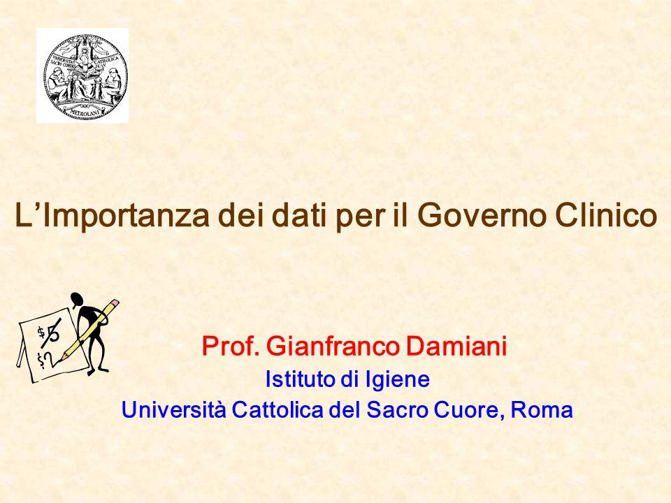 LImportanza dei dati per il Governo Clinico Prof. Gianfranco Damiani Istituto di Igiene Università Cattolica del Sacro Cuore, Roma