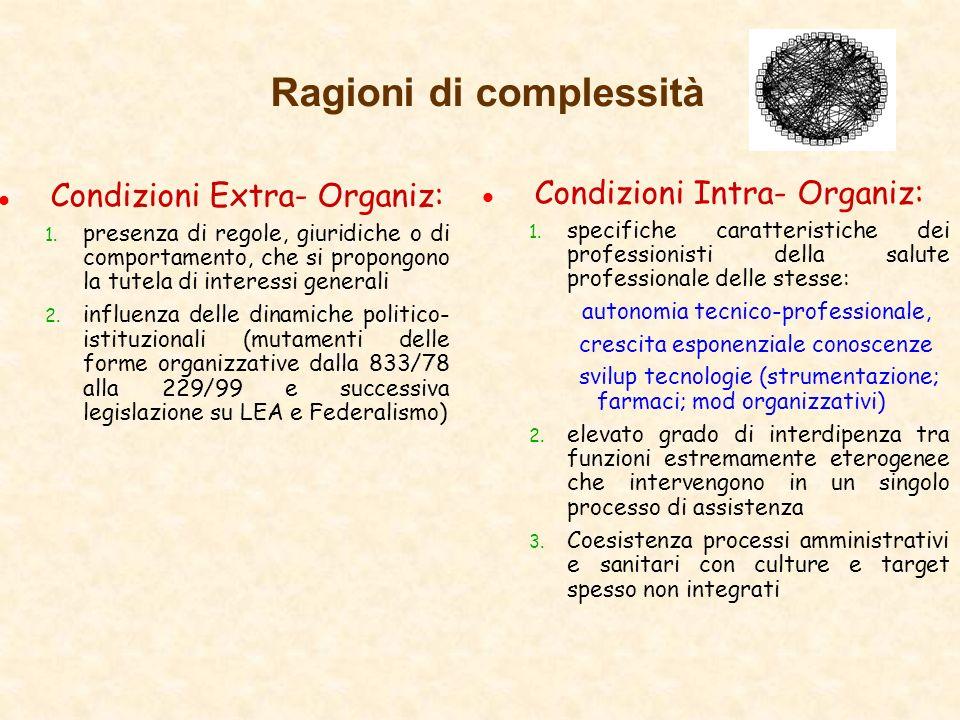 Ragioni di complessità l Condizioni Extra- Organiz: 1. presenza di regole, giuridiche o di comportamento, che si propongono la tutela di interessi gen