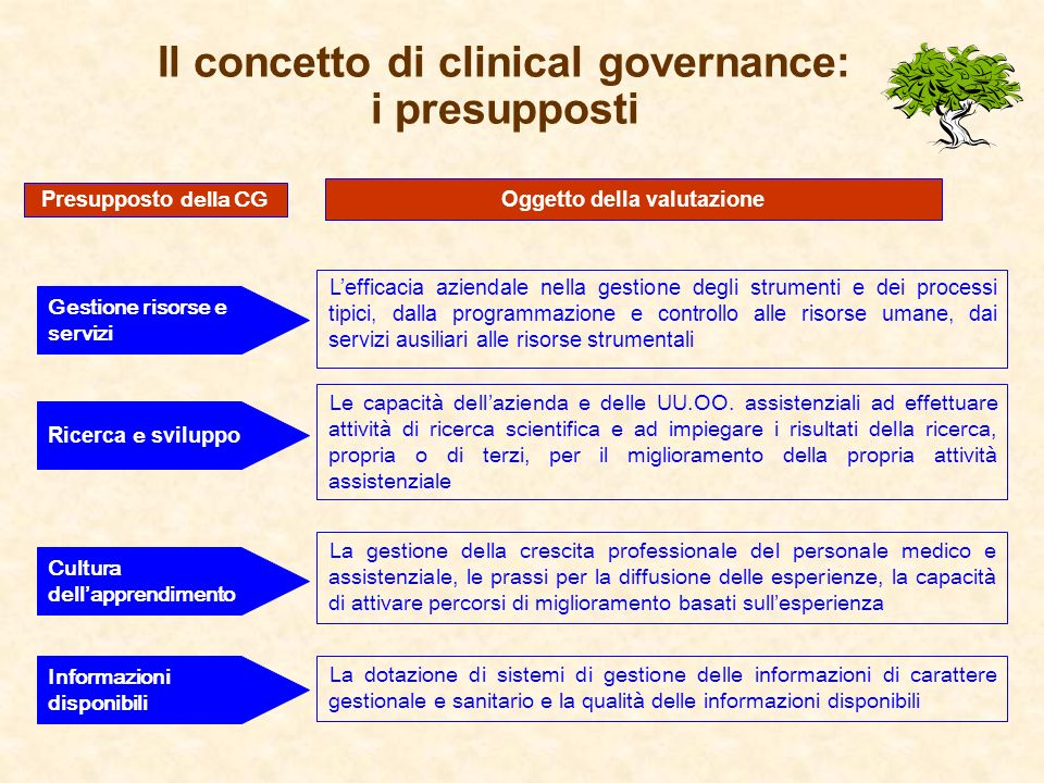 Il concetto di clinical governance: i presupposti Gestione risorse e servizi Lefficacia aziendale nella gestione degli strumenti e dei processi tipici