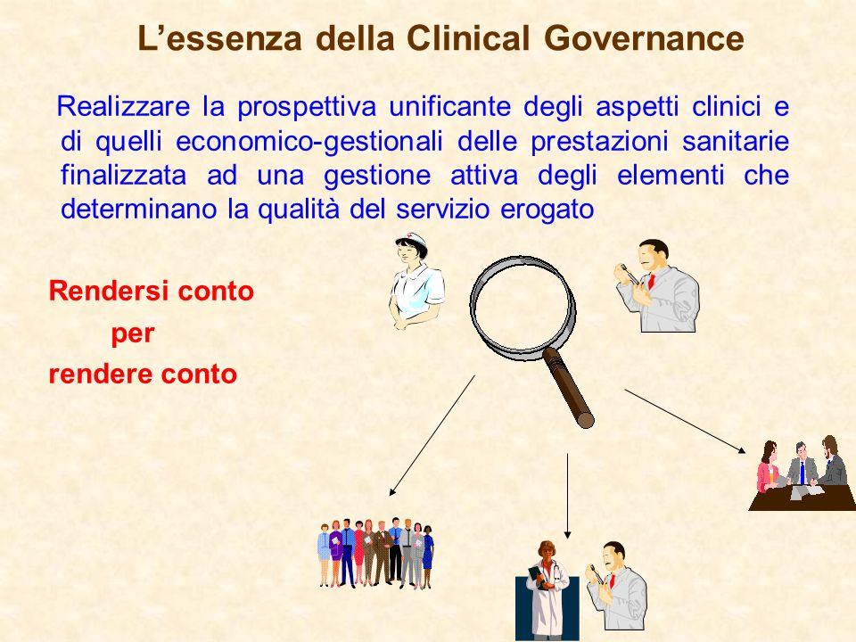 Lessenza della Clinical Governance Realizzare la prospettiva unificante degli aspetti clinici e di quelli economico-gestionali delle prestazioni sanit