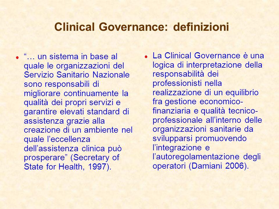Clinical Governance: definizioni l … un sistema in base al quale le organizzazioni del Servizio Sanitario Nazionale sono responsabili di migliorare co