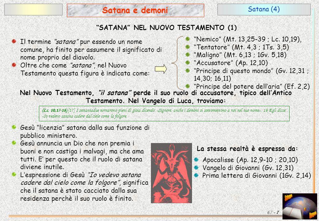 Satana (4) 7 Satana e demoni 67 - SATANA NEL NUOVO TESTAMENTO (1) Nel Nuovo Testamento, il satana perde il suo ruolo di accusatore, tipico dellAntico