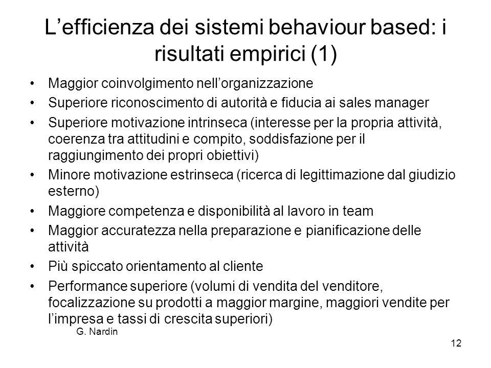 12 Lefficienza dei sistemi behaviour based: i risultati empirici (1) Maggior coinvolgimento nellorganizzazione Superiore riconoscimento di autorità e