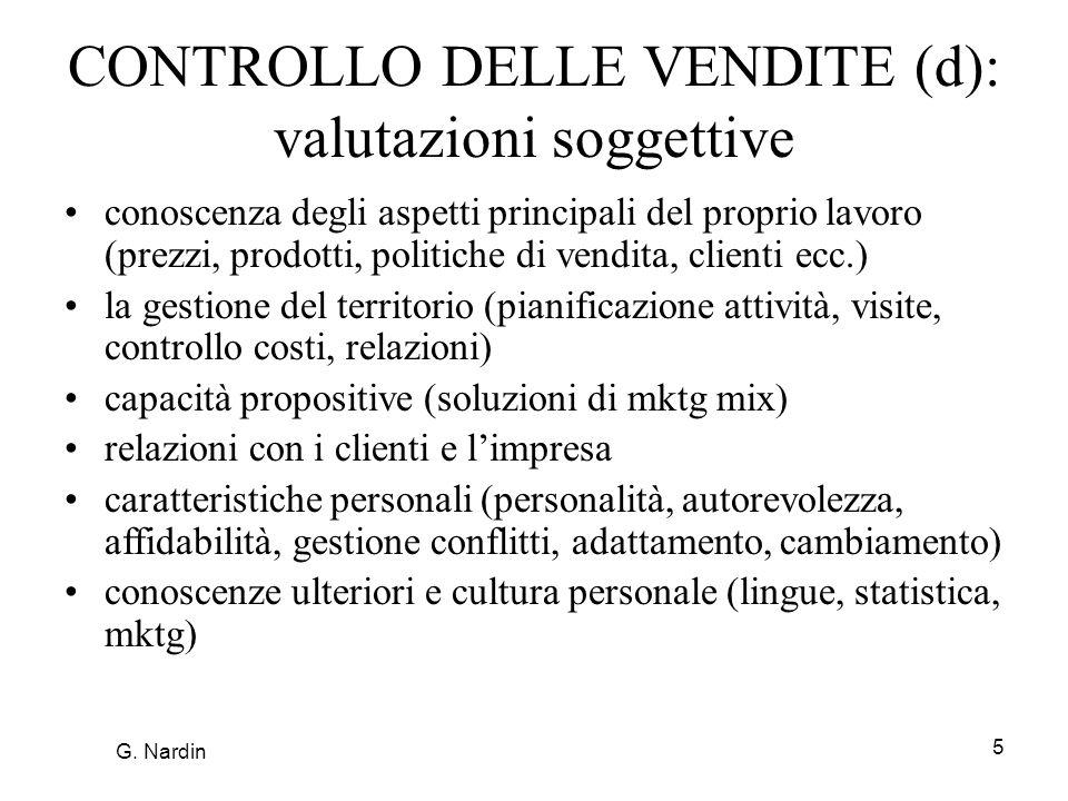 5 CONTROLLO DELLE VENDITE (d): valutazioni soggettive conoscenza degli aspetti principali del proprio lavoro (prezzi, prodotti, politiche di vendita,