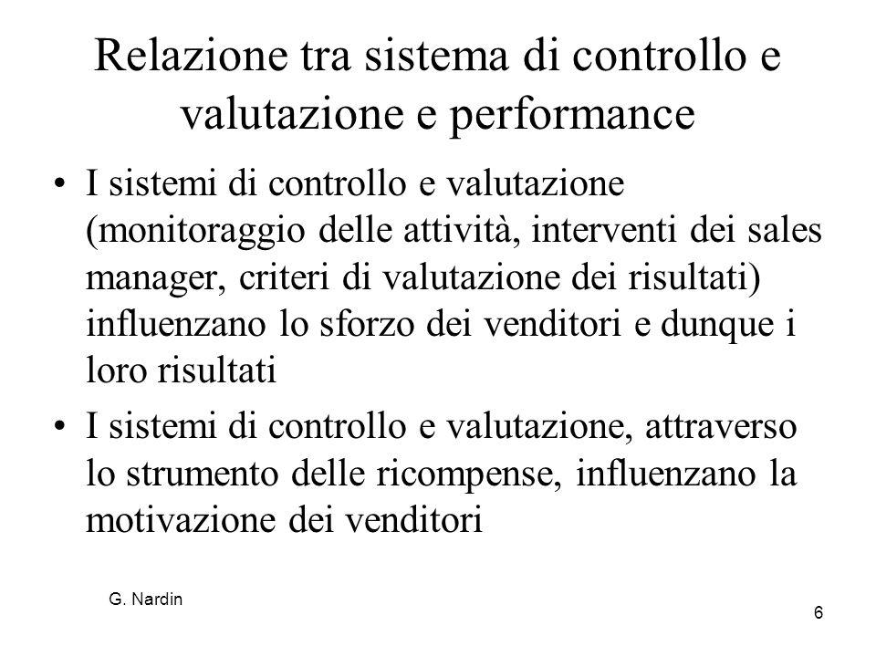6 Relazione tra sistema di controllo e valutazione e performance I sistemi di controllo e valutazione (monitoraggio delle attività, interventi dei sal