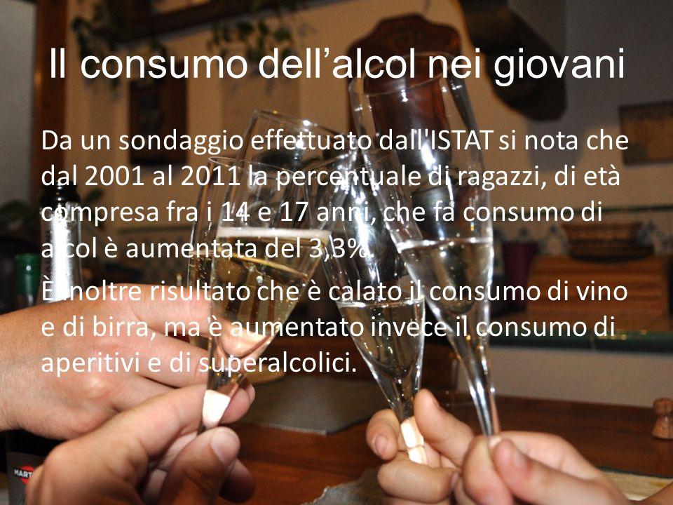 Il consumo dellalcol nei giovani Da un sondaggio effettuato dall'ISTAT si nota che dal 2001 al 2011 la percentuale di ragazzi, di età compresa fra i 1