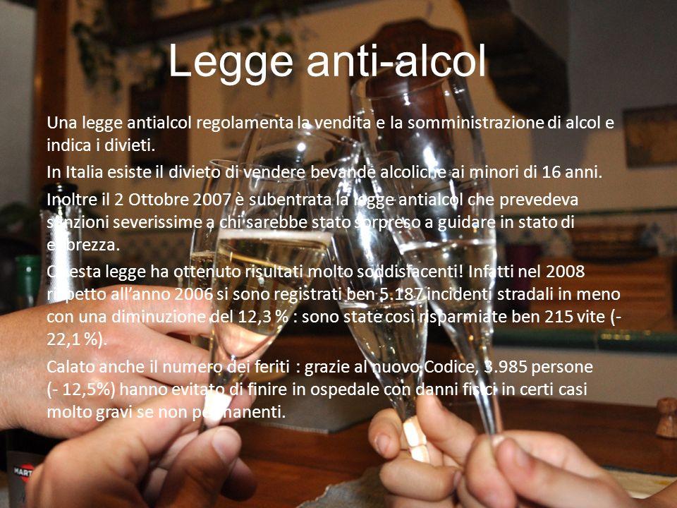 Legge anti-alcol Una legge antialcol regolamenta la vendita e la somministrazione di alcol e indica i divieti. In Italia esiste il divieto di vendere