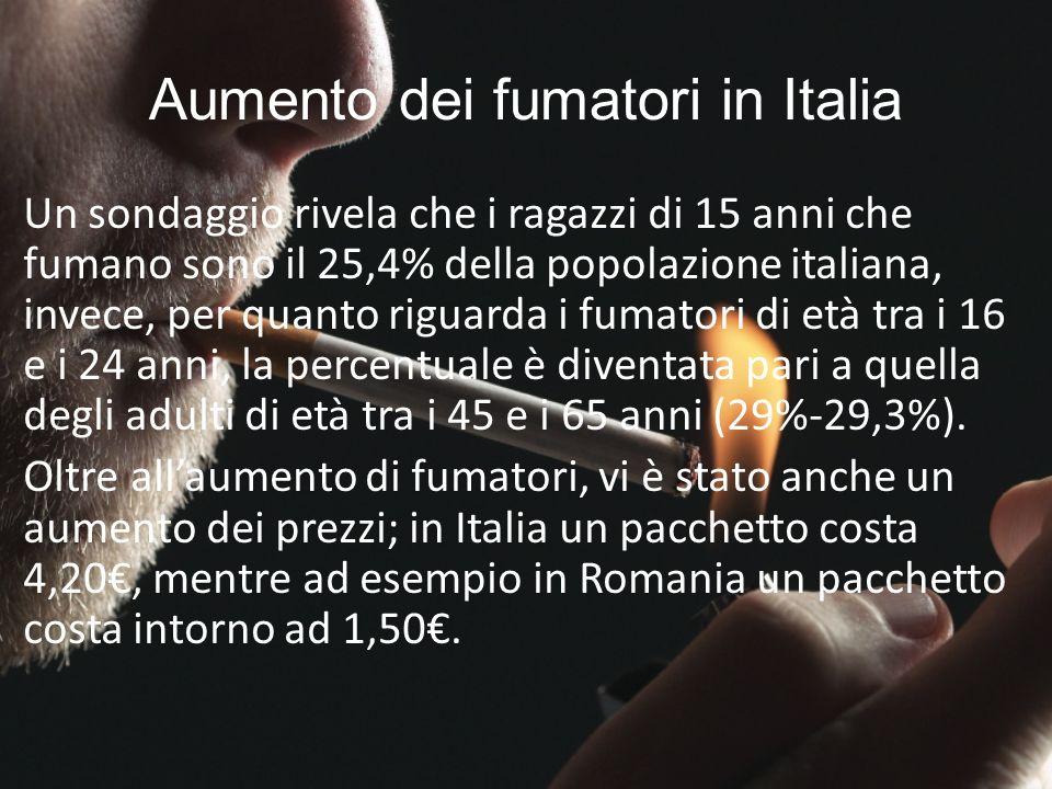Aumento dei fumatori in Italia Un sondaggio rivela che i ragazzi di 15 anni che fumano sono il 25,4% della popolazione italiana, invece, per quanto ri