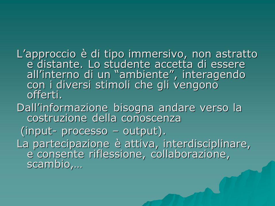 Il docente deve contribuire a progettare i percorsi. Lo studente si deve porre allinterno del processo, interagendo con lambiente in modo dinamico.