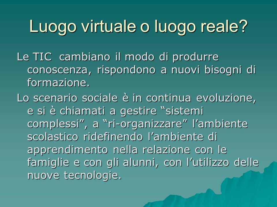 Luogo virtuale o luogo reale.