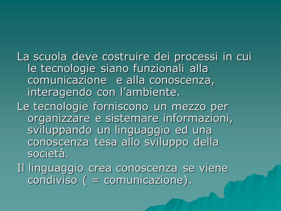 La scuola deve costruire dei processi in cui le tecnologie siano funzionali alla comunicazione e alla conoscenza, interagendo con lambiente.