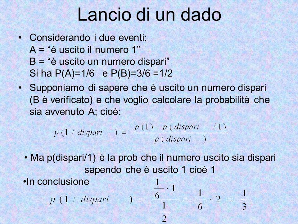 Lancio di un dado Considerando i due eventi: A = è uscito il numero 1 B = è uscito un numero dispari Si ha P(A)=1/6 e P(B)=3/6 =1/2 Supponiamo di sape