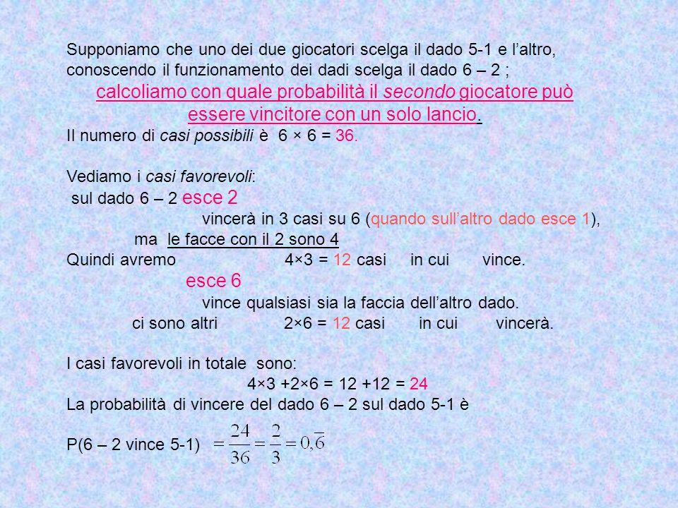 Supponiamo che uno dei due giocatori scelga il dado 5-1 e laltro, conoscendo il funzionamento dei dadi scelga il dado 6 – 2 ; calcoliamo con quale pro