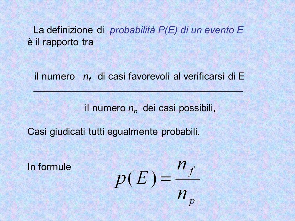 La definizione di probabilità P(E) di un evento E è il rapporto tra il numero n f di casi favorevoli al verificarsi di E _____________________________