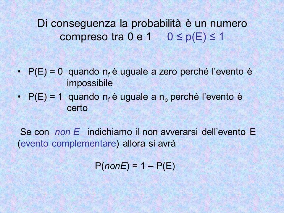 Lancio di un dado Lo spazio campionario, cioè linsieme di tutti i possibili eventi, è definito come A = {1, 2, 3, 4, 5, 6} … La probabilità che esca 6 lanciando un dado vuol dire : Calcolare: - il numero n p dei casi possibili cioè 6 (le facce possibili) - il numero n f dei casi favorevoli cioè 1 (la faccia che porta il 6) La probabilità che non esca 6 è invece La somma della probabilità di tutti gli eventi possibili è 1 P(1)+ P(2)+ P(3)+ P(4)+ P(5)+ P(6)= 1/6+ 1/6+ 1/6+ 1/6+ 1/6+ 1/6=1
