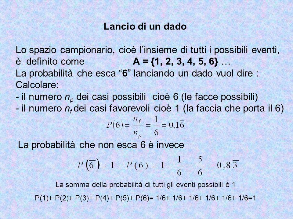 Lancio di un dado Lo spazio campionario, cioè linsieme di tutti i possibili eventi, è definito come A = {1, 2, 3, 4, 5, 6} … La probabilità che esca 6
