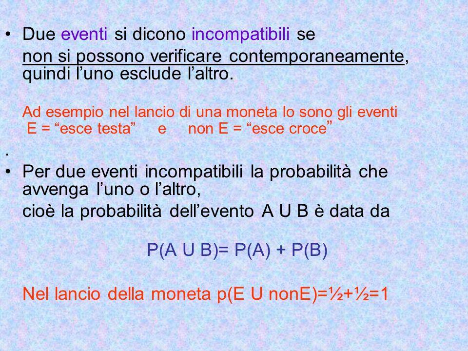 Due eventi si dicono incompatibili se non si possono verificare contemporaneamente, quindi luno esclude laltro. Ad esempio nel lancio di una moneta lo