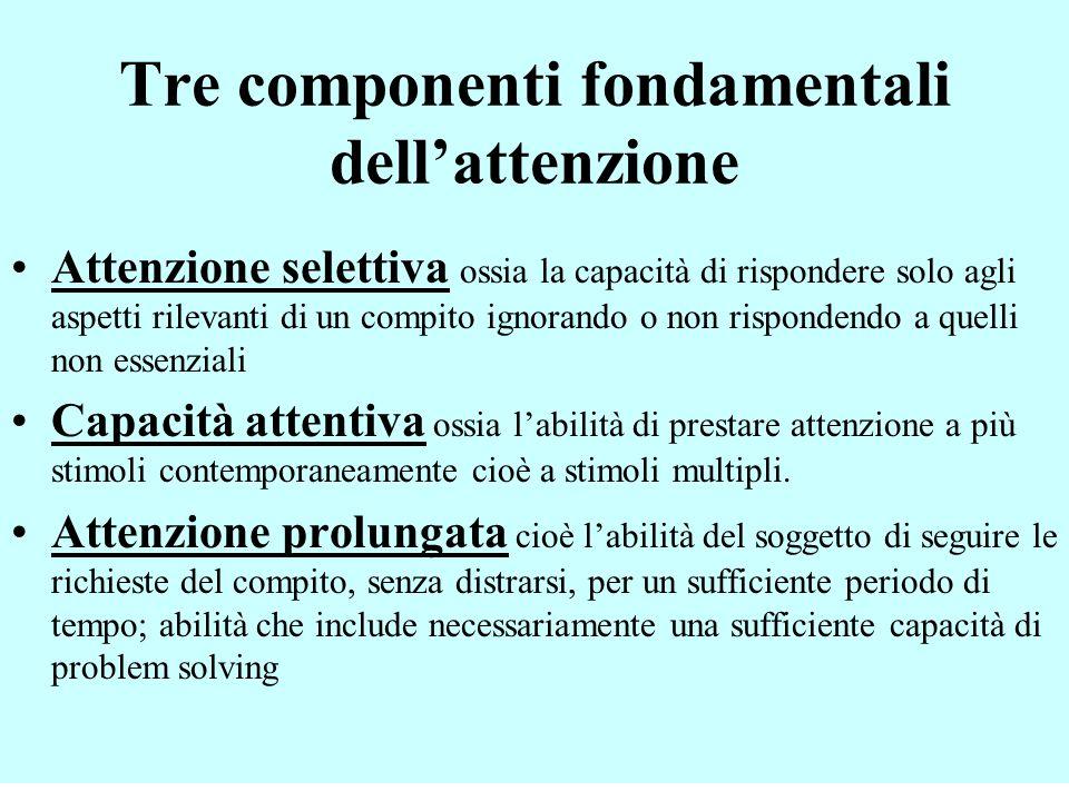 Tre componenti fondamentali dellattenzione Attenzione selettiva ossia la capacità di rispondere solo agli aspetti rilevanti di un compito ignorando o