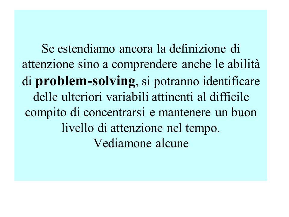Se estendiamo ancora la definizione di attenzione sino a comprendere anche le abilità di problem-solving, si potranno identificare delle ulteriori var