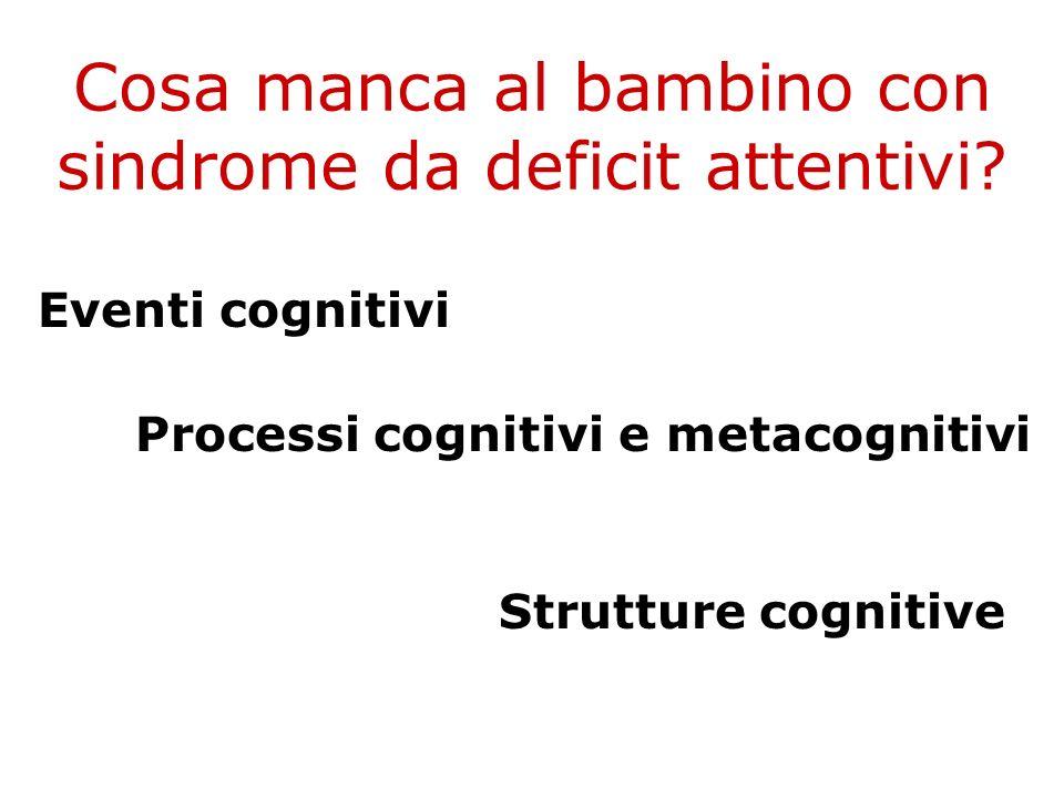 Cosa manca al bambino con sindrome da deficit attentivi? Eventi cognitivi Processi cognitivi e metacognitivi Strutture cognitive